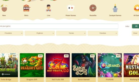 Paradise Online Casino Offers TOP Games And Bonuses
