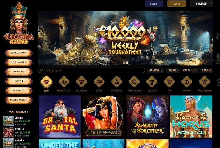 New Slots Added At Cleopatra Online Casino