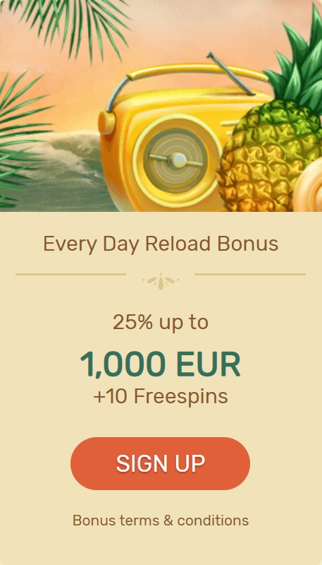 Paradise Online Casino Offers 25% Everyday Reload Bonus Up To 1,000 EUR/USD + 10 Free Spins