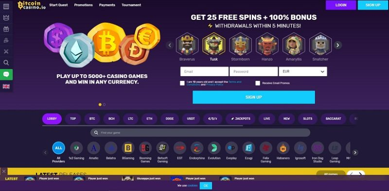 Bitcoin Casino Screenshot
