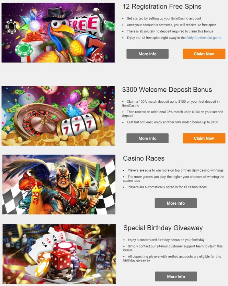 Emu Casino Bonuses And Promotions