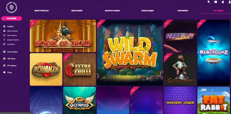 Frank & Fred Casino Games Offered