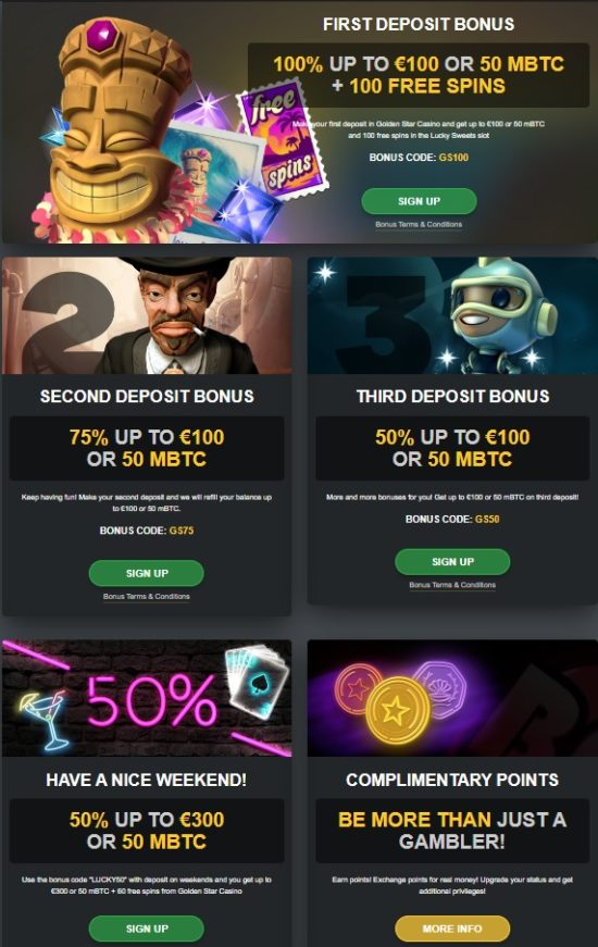 Golden Star Casino Bonuses And Promotions