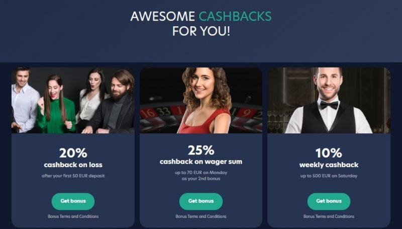 Live Casino Cashback Offer