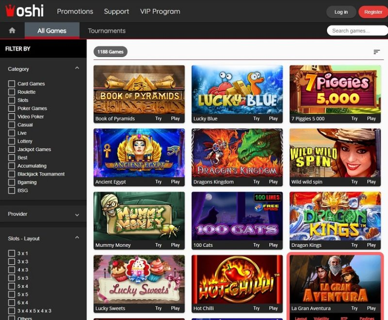 Oshi Casino Games Offered