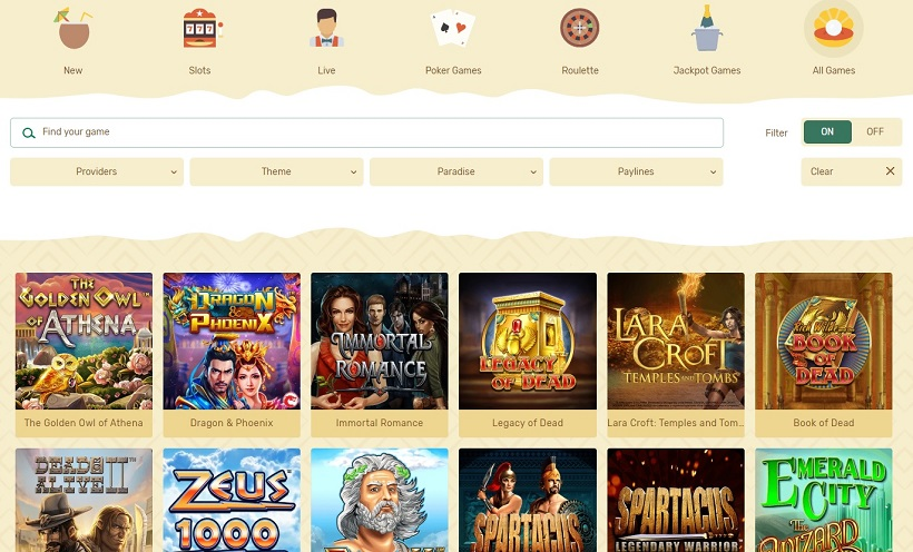 Paradise Casino Games Offered