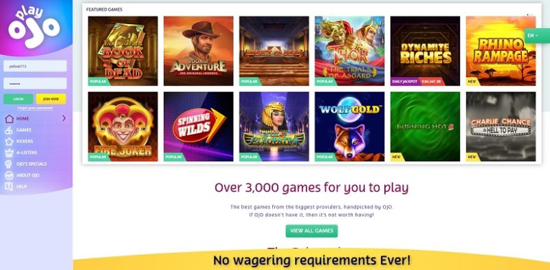 PlayOJO Casino General Overview