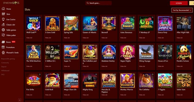 Spartan Slots Casino Games Offered