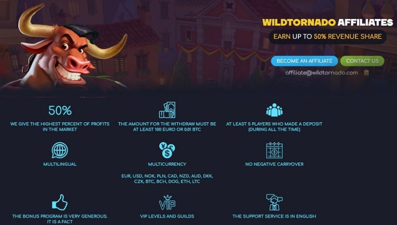 WildTornado Casino Affiliate Program