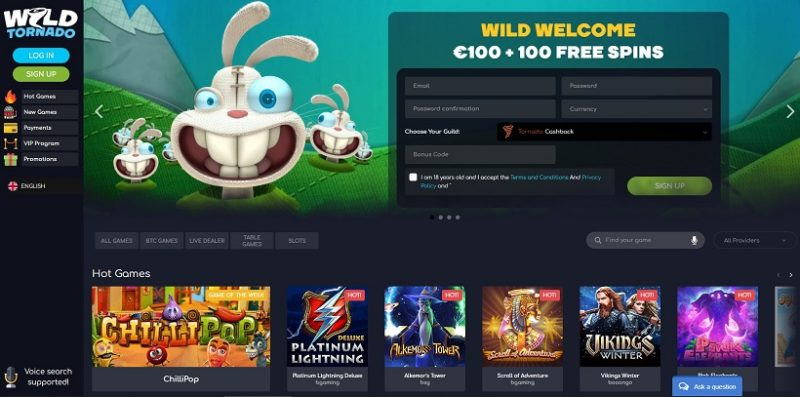 Wild Tornado Casino General Overview
