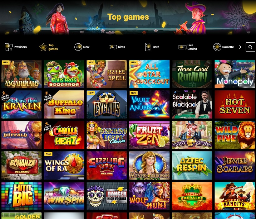 Zet Casino Games Offered