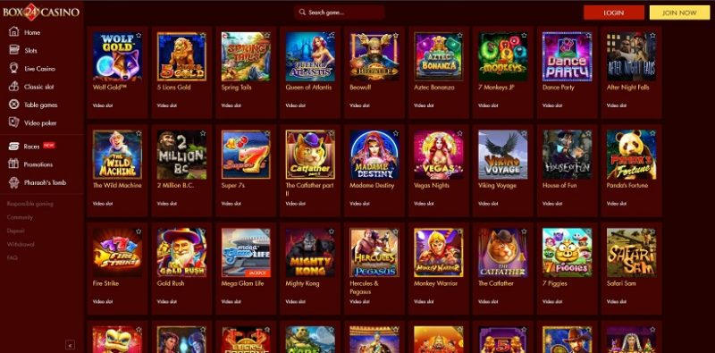 Box 24 Casino Games Offered