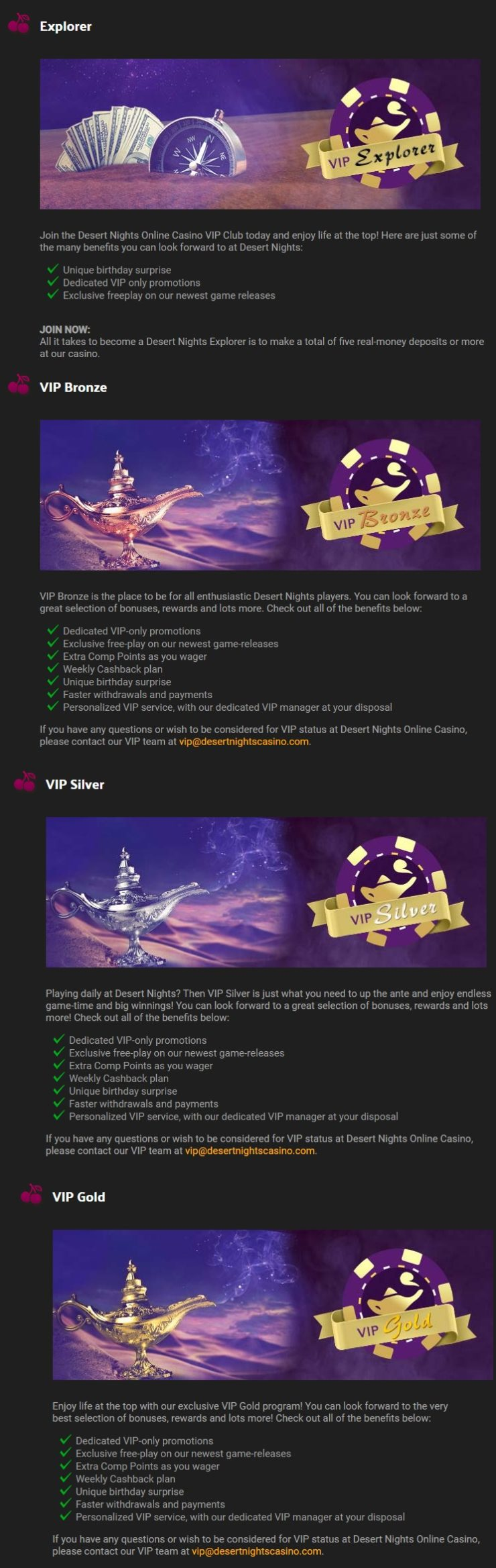 Desert Nights Casino VIP Program
