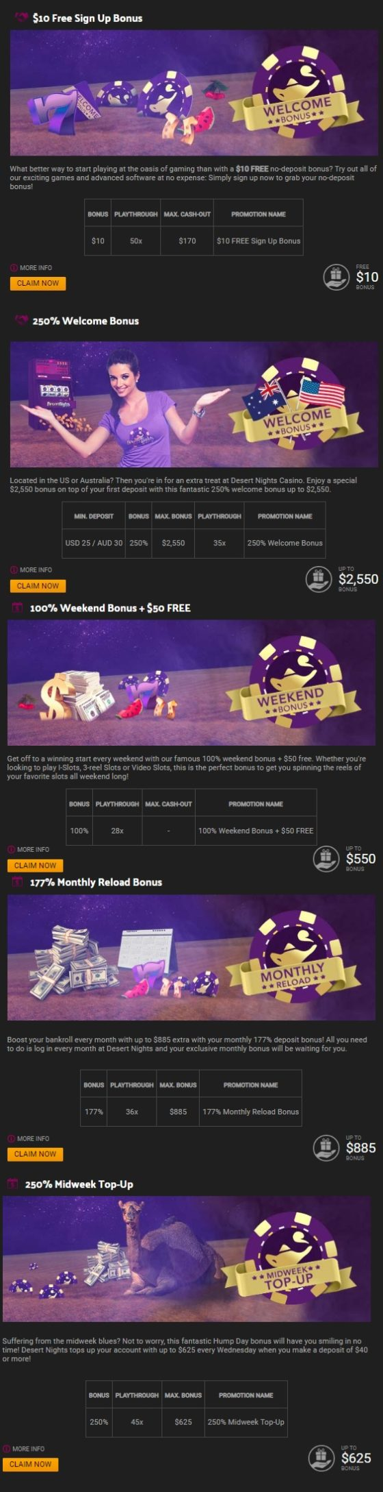 Desert Nights Casino Bonuses And Promotions