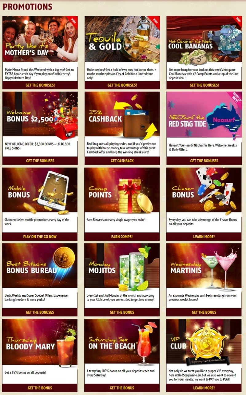 Red Stag Casino Bonuses And Promotions