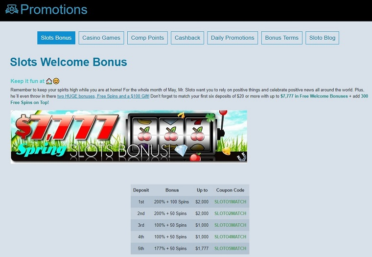 Sloto Cash Casino Bonus Offer