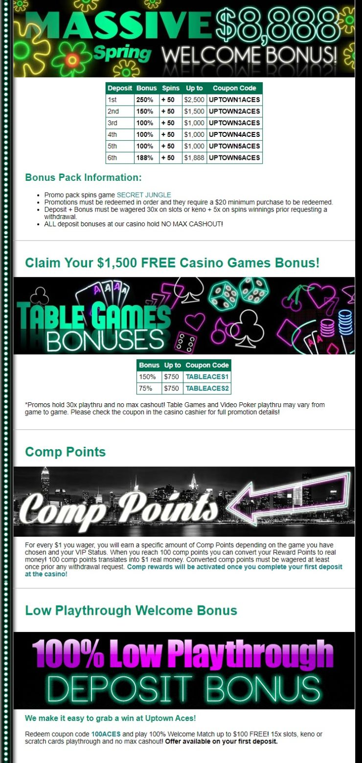 Uptown Aces Casino Bonuses And Promotions