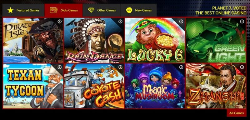 Planet 7 Casino Games Offered