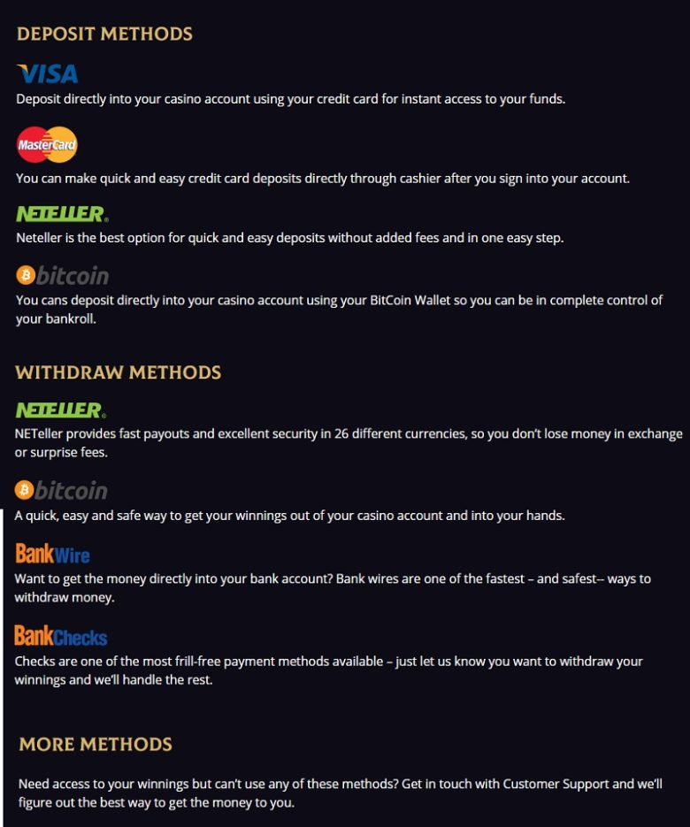 Royal Ace Casino Deposit And Withdraw Methods