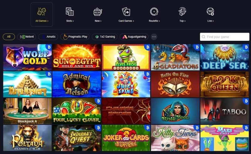 GetSlots Casino Games Offered