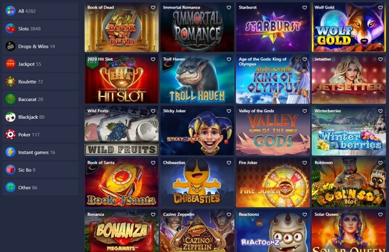 Betmaster Casino Games Offered
