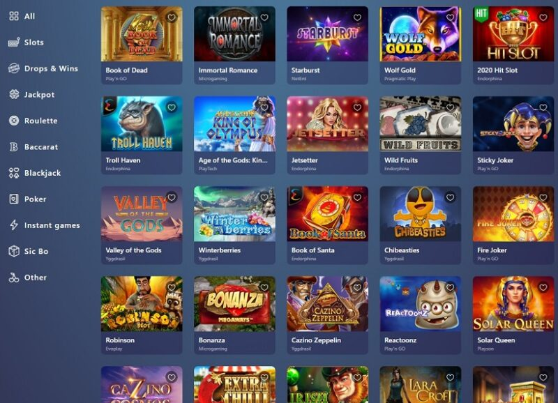 Casinoin Casino Games Offered